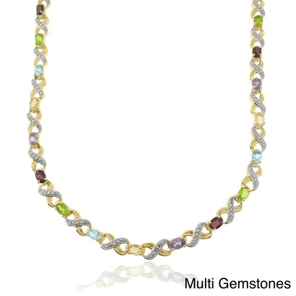 Dolce Giavonna Two-tone Silver Multi-gemstone and Diamond Accent Oval 'XO' Link Necklace