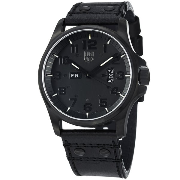 Luminox Men's 'Field' Black Dial Black Leather Strap Quartz Watch