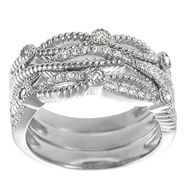 Journee Collection  Sterling Silver Cubic Zirconia Stackable 3-piece Ring Set