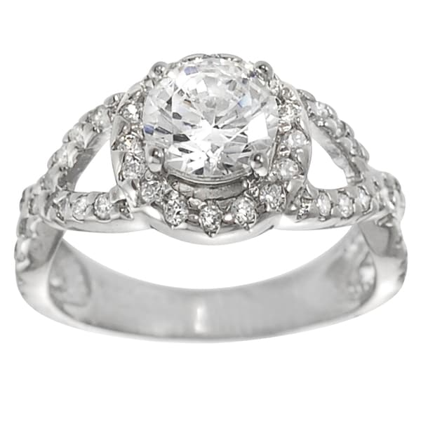 Journee Collection Sterling Silver White Cubic Zirconia Engagement Ring