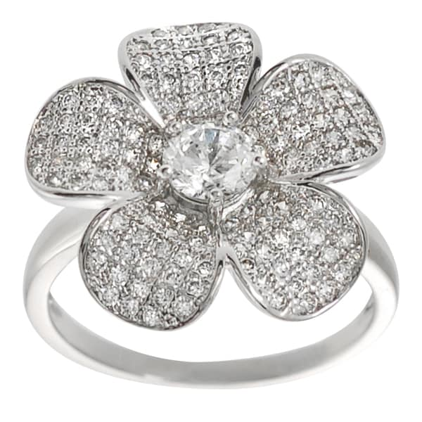 Journee Collection Sterling Silver Round Cubic Zirconia Flower Ring