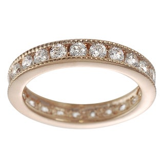 Journee Collection Rose Gold-plated Sterling Silver Cubic Zirconia Eternity Ring