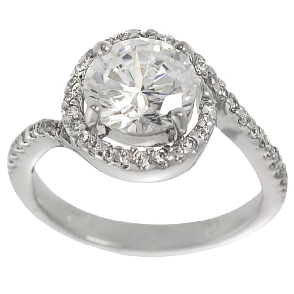 Journee Collection Sterling Silver Round-cut Cubic Zirconia Engagement Ring