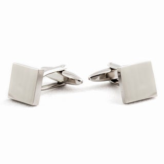 Cuff Daddy Silvertone Engraveable Square Cuff Links