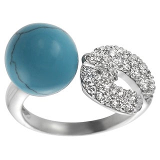 Sterling Silver Cubic Zirconia and Created Turquoise Buckle Open Wrap Ring