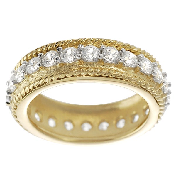 Journee Collection Goldplated Sterling Silver Cubic Zirconia Vintage Eternity Ring