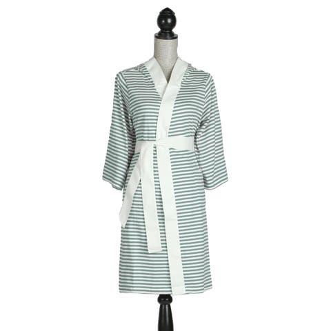 Women's Organic Cotton White and Teal Stripe Bath Robe