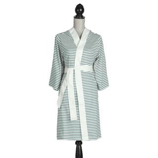 Women's Organic Cotton White and Teal Stripe Bath Robe|https://ak1.ostkcdn.com/images/products/7458354/P14907814.jpg?impolicy=medium