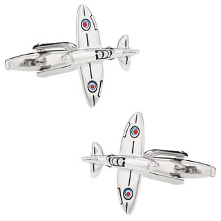 Cuff Daddy Silvertone Spitfire Plane Cuff Links