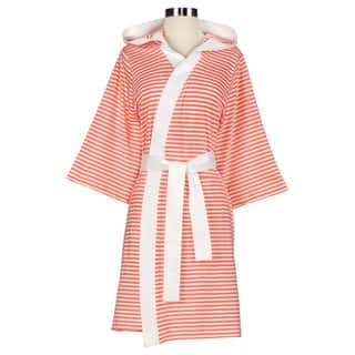Women's Organic Cotton White and Rose Stripe Bath Robe|https://ak1.ostkcdn.com/images/products/7458359/P14907813.jpg?impolicy=medium
