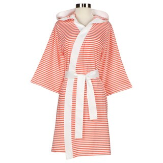 Women's Organic Cotton White and Rose Stripe Bath Robe (2 options available)