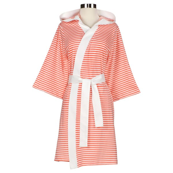475431bc5e Shop Women s Organic Cotton White and Rose Stripe Bath Robe - On Sale - Free  Shipping Today - Overstock - 7458359