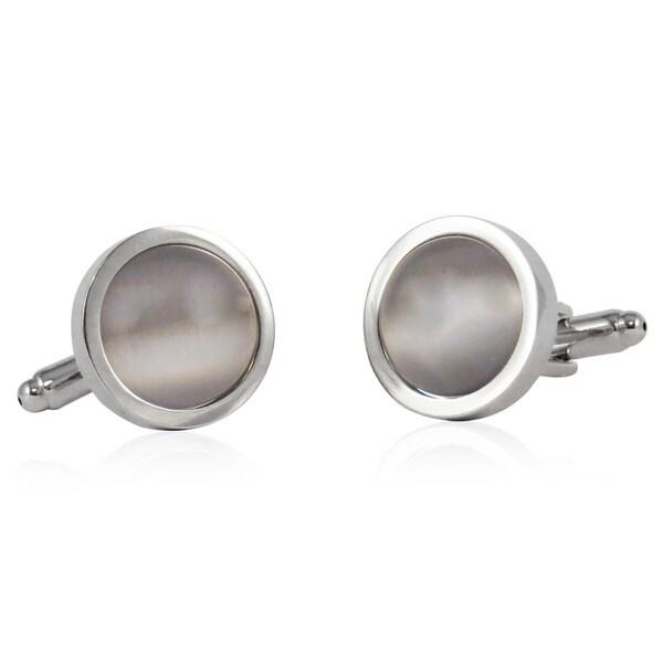 Cuff Daddy Silvertone Silver Fiber Optic Glass Cuff Links
