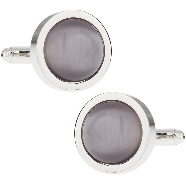 Cuff Daddy Silvertone Silver Fiber Optic Glass Cuff Links