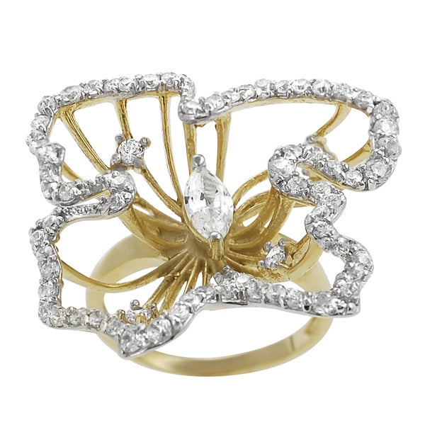 Journee Collection Goldplated Sterling Silver Cubic Zirconia Nature Design Ring