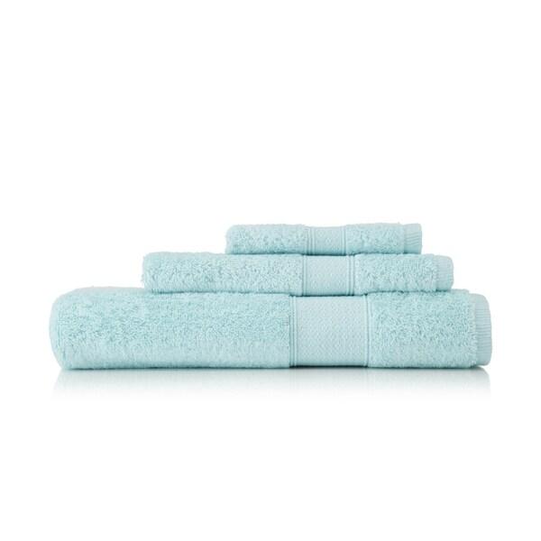 Pima Cotton Diamond Tile Border Seafoam 3-piece Towel Set