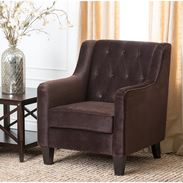 Shop Abbyson Living Hamilton Dark Brown Fabric Armchair ...