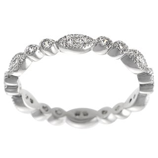 Journee Collection Sterling Silver Cubic Zirconia Vintage Eternity Ring