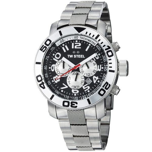 TW Steel Men's 'Grandeur Dive' Black Dial Stainless Steel Watch