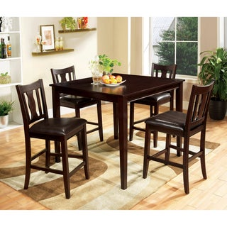Furniture of America Pyon Walnut 5-piece Counter Dining Set