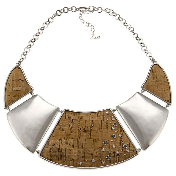 ABS by Allen Schwartz Silvertone CZ Collar Fashion Necklace