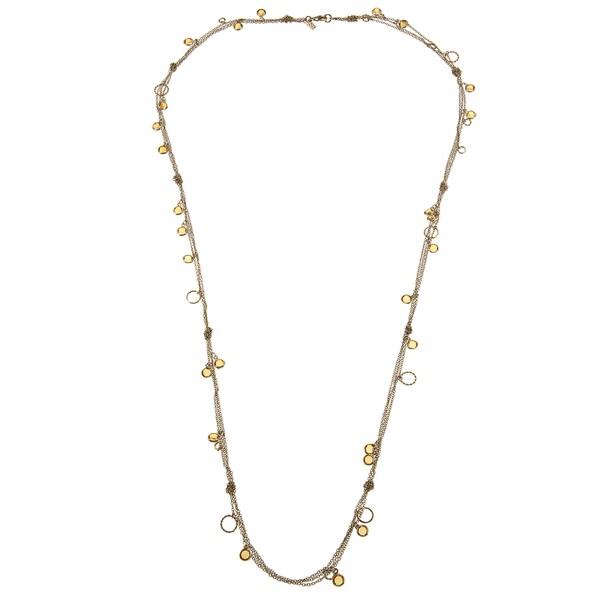 ABS by Allen Schwartz Goldtone Orange CZ Fashion Necklace