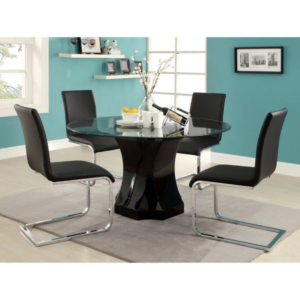 Furniture of America Five-piece Glass Dining Table Set