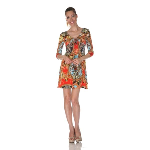 White Mark Women's 'Monte Carlo' Red Mix Print Dress