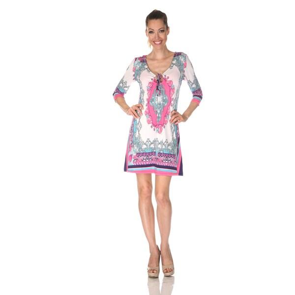 White Mark Women's 'Monte Carlo' Ivory/ Pink Mix Print Dress