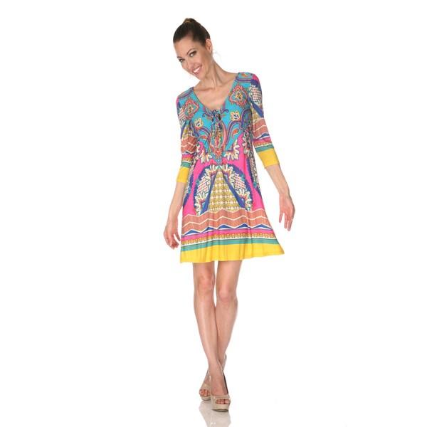 White Mark Women's 'Monte Carlo' Pink/ Turquoise Mix Print Dress
