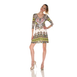 White Mark Women's 'Monte Carlo' Ivory/ Yellow Mix Print Dress