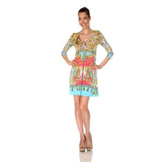 White Mark Women's 'Monte Carlo' Yellow/ turquoise Print Dress