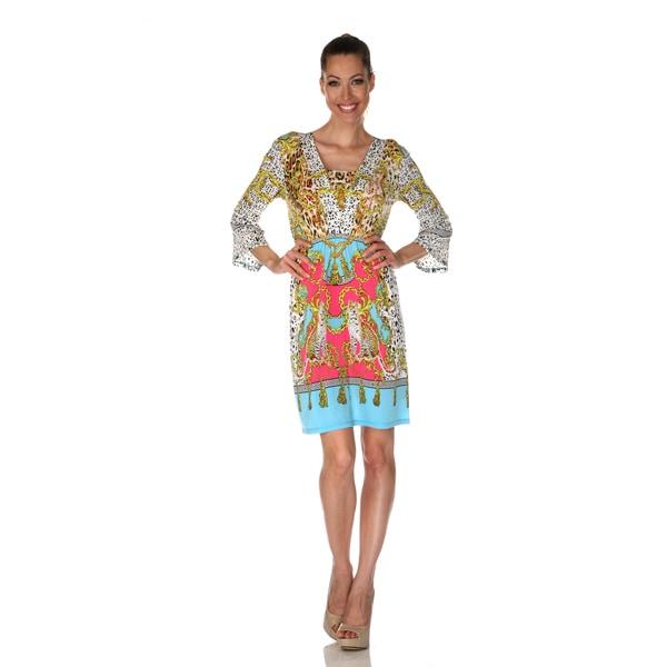 White Mark Women's 'Venezia' Yellow/ Turquoise Mix Print Dress