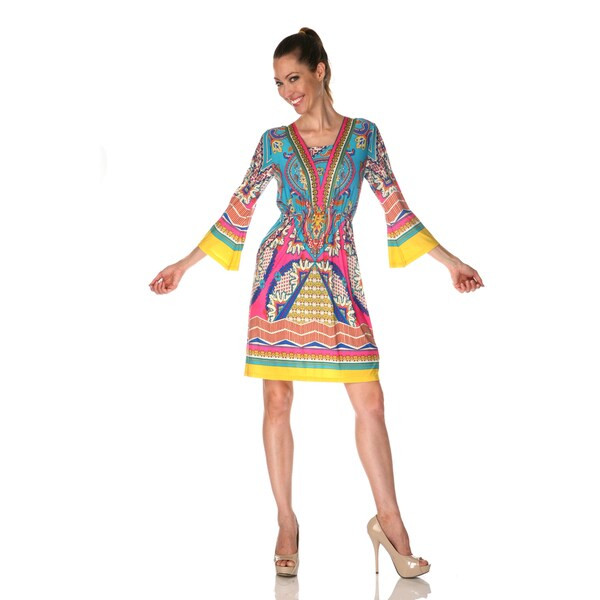 White Mark Women's 'Venezia' Pink/ Turquoise Mix Print Dress