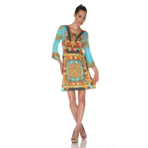 White Mark Women's 'Venezia' Gold/ Turquoise Mix Print Dress