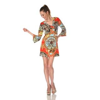 White Mark Women's 'Florence' Red Mix Print Dress