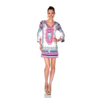White Mark Women's 'Florence' Ivory/ Pink Mix Print Dress