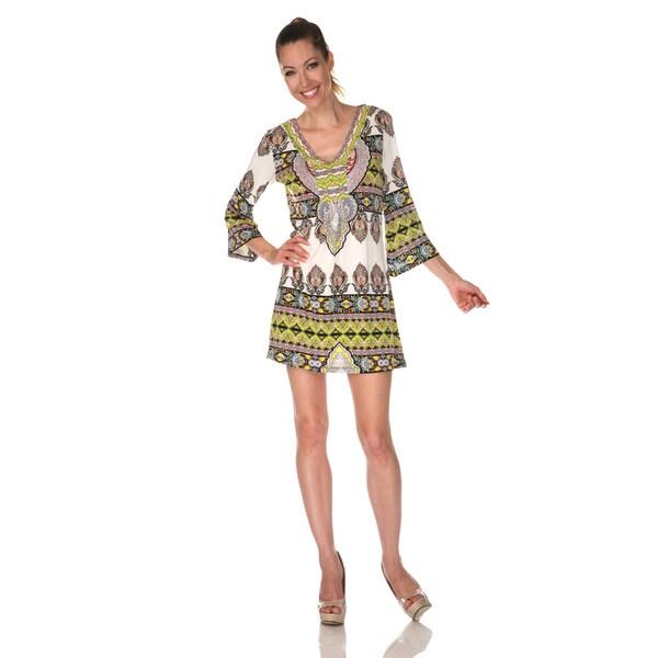 White Mark Women's 'Florence' Ivory/ Yellow Mix Print Dress
