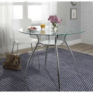 Simple Living Tempered Glass Chrome Round Dining Table|https://ak1.ostkcdn.com/images/products/7458866/P14908204.jpg?impolicy=medium