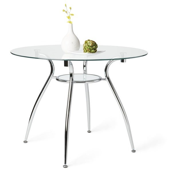 Simple Living Tempered Glass Chrome Round Dining Table   Free Shipping  Today   Overstock.com   14908204