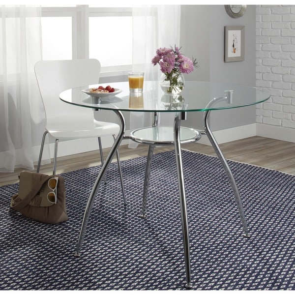 Mauna Tempered Glass Top Round Dining Table Set: Simple Living Tempered Glass Chrome Round Dining Table