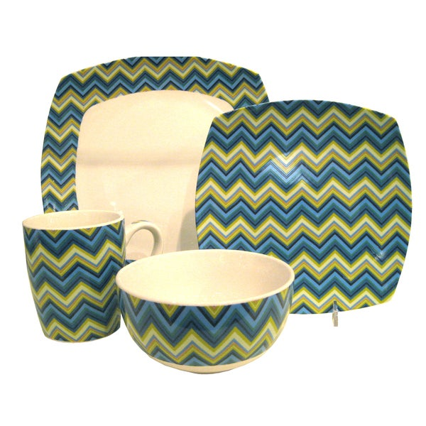 Waverly Blue Zig-zag 16-piece Dinnerware Set
