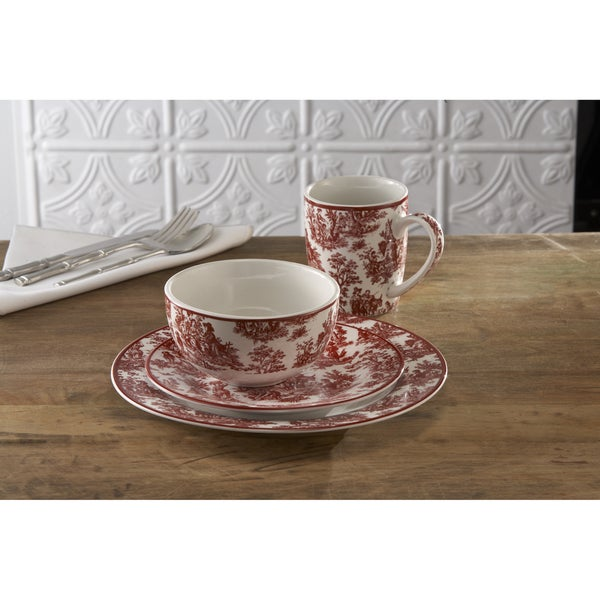 Waverly Country Life Red 16-piece Dinnerware Set