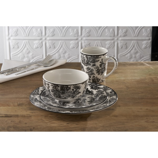 Waverly Country Life Black 16-piece Dinner Set
