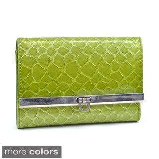 Dasein Women's Snakeskin Embossed Tri-fold Wallet