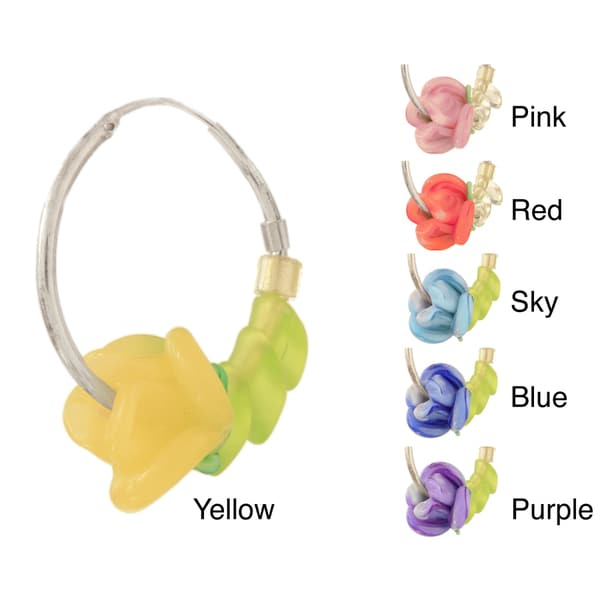 Sterling Silver and Glass Lampwork Flower Earrings