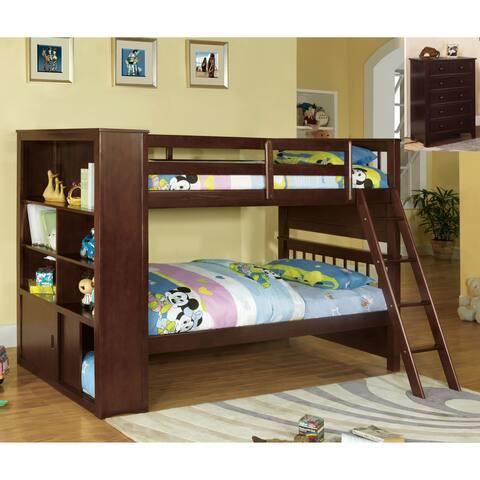 Furniture of America Dani Traditional Brown Twin 2-piece Bunk Bed Set