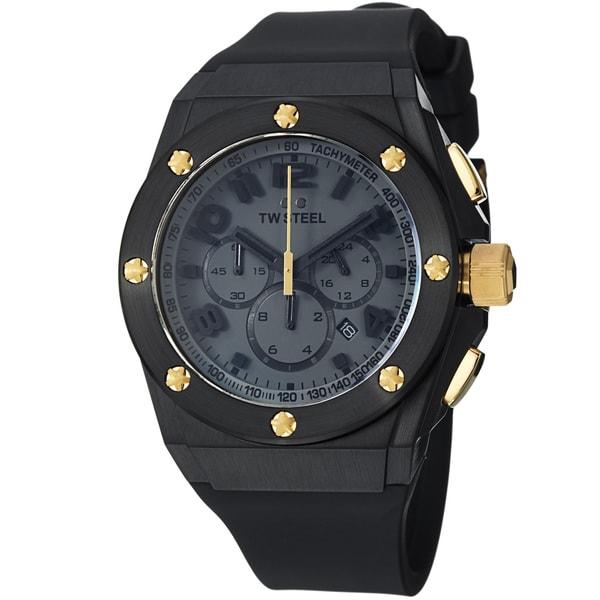 TW Steel Men's TW684 'LutosF1Team' Black Dial Rubber Strap Quartz Watch