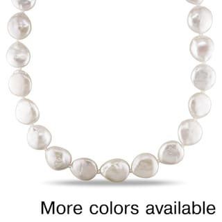 Miadora White or Grey Coin Pearl Necklace (13-14 mm)