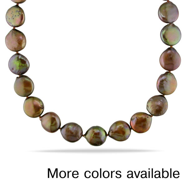Miadora Brown or Pink Coin Cultured Freshwater Pearl Necklace (12-13 mm)